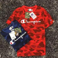 Bape  x Champion Version A Bathing Ape Camo Crewneck T-shirt