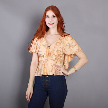 70s PEACH Floral Wrap TOP / 1970s Flutter Sleeve Fitted Waist Peplum Blouse