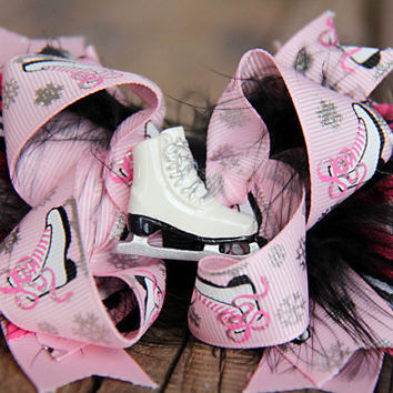 Pink and Black Ice Skate Hairbow | Ice Princess Hairbow | Pink and Black Hairbow | Birthday Bow | Skate Hairbow | Feather Hairbows