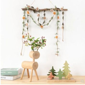 CREYXF7 Spring ornaments flower rope window shop decoration room ceiling ornaments curtains tied rope wall hangings