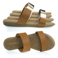 Tamber01 Tan By Bamboo, Comfortable Padded Slip On Flat Sandal w Double Straps