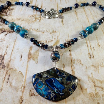 Beautiful Deep Ocean Blues Necklace, Sea Sediment Jasper And Pyrite, Crystal And Silver, Aqua, Turquoise, Navy, OOAK
