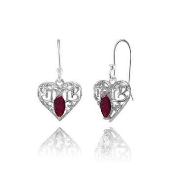 Marquise Heart Filigree 6x3mm Created Ruby Dangle Earrings in Sterling Silver