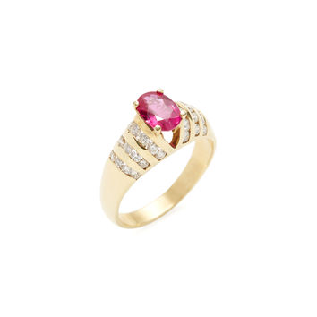 Vendoro Women's Diamond & Oval Ruby Ring - Red - Size 6.5