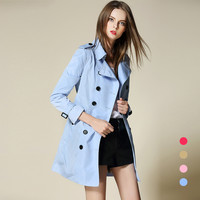 B Famous British Medium Long Sky Blue Bur Trench Coat Women 2017 New Spring Autumn Double Breasted Thin Coat Femme