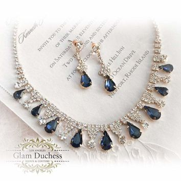 Gold Navy Blue Sapphire Bridal Jewelry Set, blush Bridal Necklace Earrings, Peach bridesmaid jewelry set