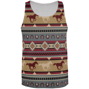 Southwestern Wild Horses Pattern All Over Mens Tank Top