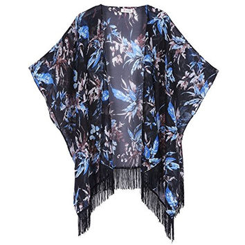 Soul Young Women's Floral Aztec Leopard Light Chiffon Beachwear Cover-ups Kimono Cardigan Outfit