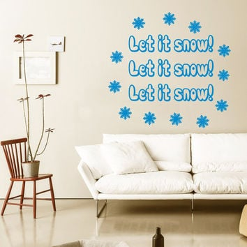Happy New Year Wall Decal Quote Let It Snow Snowflakes Sticker Merry Christmas Vinyl Decals Living Room Decor Design Interior Murals KY99