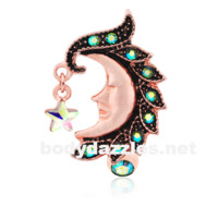 Rose Gold Heavenly Moon Face Reverse Drop Top Belly Button Ring 14ga Navel Ring Body Jewelry