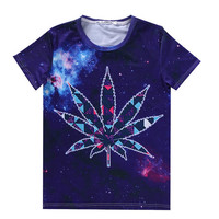 Free Shipping Women Men Weed Leaf Tees 3d galaxy space t shirt summer shirts pol
