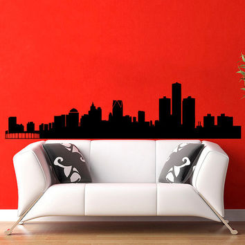 Detroit Skyline City Silhouette Wall Vinyl Decal Sticker Home Decor Art Mural  Z380