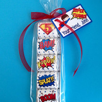 SUPER HERO Party Favors,super hero birthday,Hershey nugget wrappers,bags,and tags