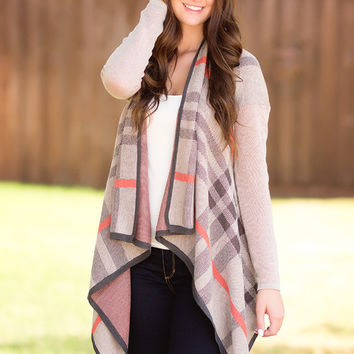Mad For Plaid Cardigan-Tan