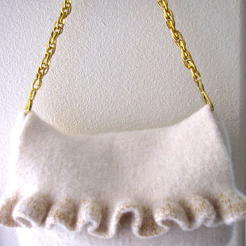 Gold Ruffle, Felted Purse Pattern, Knit Bag Pattern, Felted Purse, Knitted Purse, Knitting Pattern, Instant Download, PDF