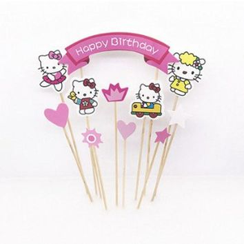 1 Set Lovely Hello Kitty Theme Boy girl Birthday Cupcake Topper Flag Baby Shower Kids Birthday Party Cake Decoration