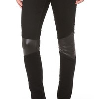 Super Skinny Moto Pants with Leather Trim