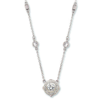 THE LOOK OF REAL bezel set cubic zirconia rhodium pendant necklace-bridal