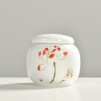 Tea caddy ceramic Small canister kung fu tea storage tank applique print gcaddy new arrival