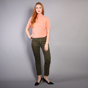 60s OLIVE Pin Up PANTS / Classic Rockabilly Deadstock TROUSERS, xs-s