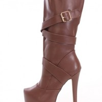 Brown Platform Heel Boots Faux Leather