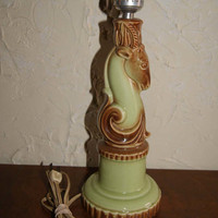 Vintage 1950s Ceramic Green And Brown Gazelle Or Deer Shaped Lamp Working Condition Unmarked