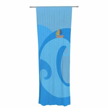 "Cristina Bianco Design ""Blue Whale"" Blue Yellow Decorative Sheer Curtain"