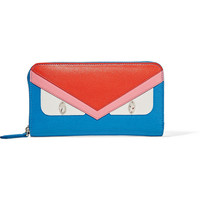 Fendi - Crayons embellished textured-leather continental wallet