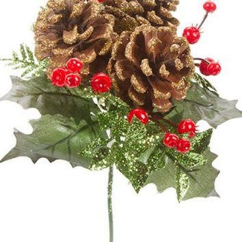"Glittered Artificial Holly & Pine Cone Christmas Pick - 8"" Tall"
