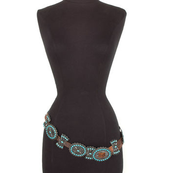 Turquoise & Silver Concho Belt