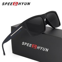 SPEEDHYUN New Arrival Italian Design Sunglasses Men Polarized Women Fashion Eye Protection UV400 Black Square Sun glasses gafas