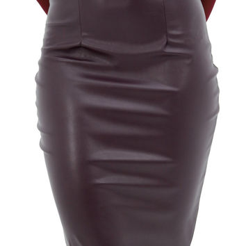 Plum Vegan Leather Skirt