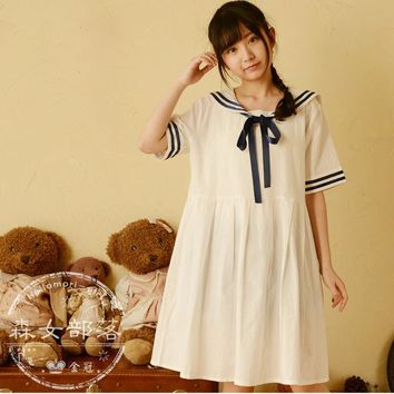 Women's summer navy style sweet sailor collar short-sleeve dress Japanese style vintage striped dresses vestidos gown