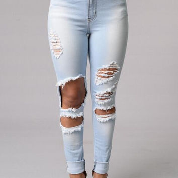 Jeans Punk Style  High Quality Pocket Buttons Women Pants Solid Large Size Bodycon Hole Jeans