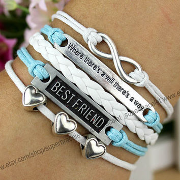 Infinity charm bracelet - friendship love bracelet - best friend bracelet - where there is a will there is a way - girlfriend and BFF