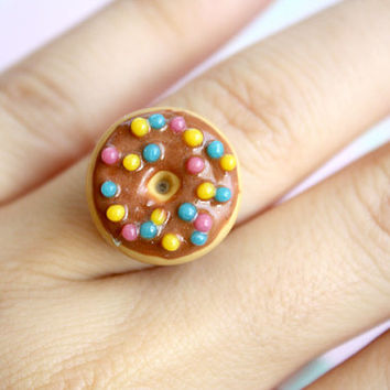 Sprinkle Donut Miniature Ring - Kawaii Polymer Clay Jewelry, Food Miniature Jewelry