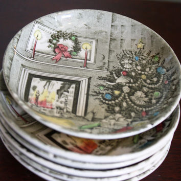 Set of 6 Vintage Johnson Brothers Christmas Plates, Coasters with a Cozy Christmas Scene.