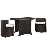 Modway Katonti 3 Piece Patio Dining Set in Brown White