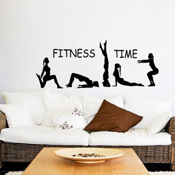 Fitness Wall Decal Fitness Time Athlete Girls Sport Sticker Yoga Vinyl Decals Gym Art Mural Bedroom Interior Design Living Room Decor KI14