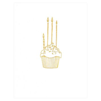 Gold Foil Cupcake Birthday Card