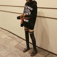 """""""Gucci"""" Women Casual Fashion Sequin Letter Tiger Head Print Hooded Long Sleeve Sweater Sweatshirt Tops"""