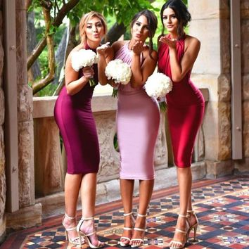 Sexy Backless Short Bridesmaid Dresses Fuchsia 2016 Halter Knee-Length Pink Beach Wedding Party Dresses Abito Damigella