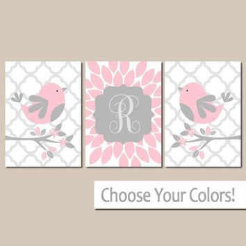 Pink Gray BIRD Nursery Wall Art, Baby Girl Decor, Girl Name Bedroom Pictures, Above Crib Decor, Bird Flowers, CANVAS or Prints, Set of 3