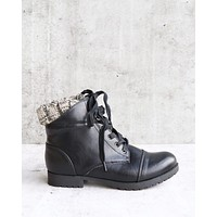 cozy sweater cuff ankle bootie in black