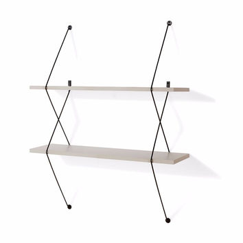 DanyaB Contemporary Two Level Grey Shelving System with Black Wire Brackets
