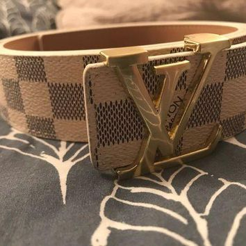 Gotopfashion Authentic ceinture belt louis vuitton damier white monogram 120cm paris LV