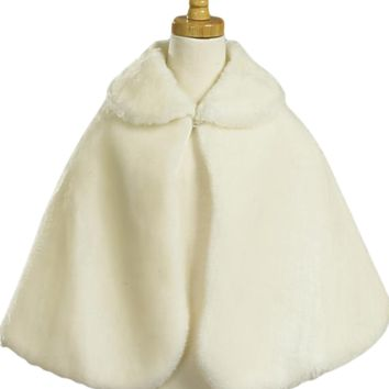 Plush Faux Fur Cape in White or Ivory (Girls 5 - 16)