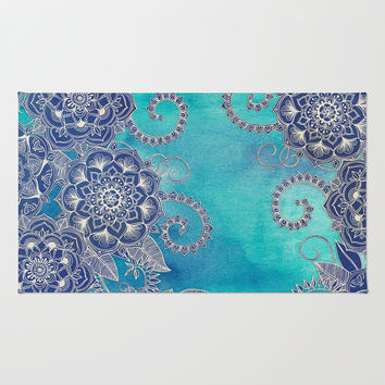 Mermaid's Garden - Navy & Teal Floral on Watercolor Rug by Micklyn