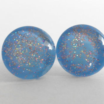 Sparkly Blue with Light Pink Glitter Round Glass Cabochon Stud Earrings