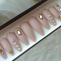 Nude Matte Gold Swarovski Press on Nails | Genuine Swarovski | Heart | Handpainted Nail Art | Glue On Nails | Any Shape Size